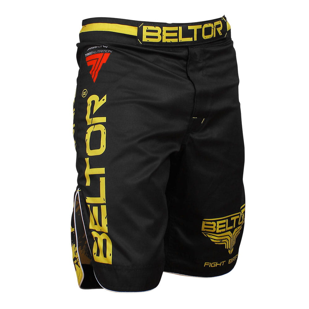 Brazilian Punch MMA shorts, black and yellow Beltor