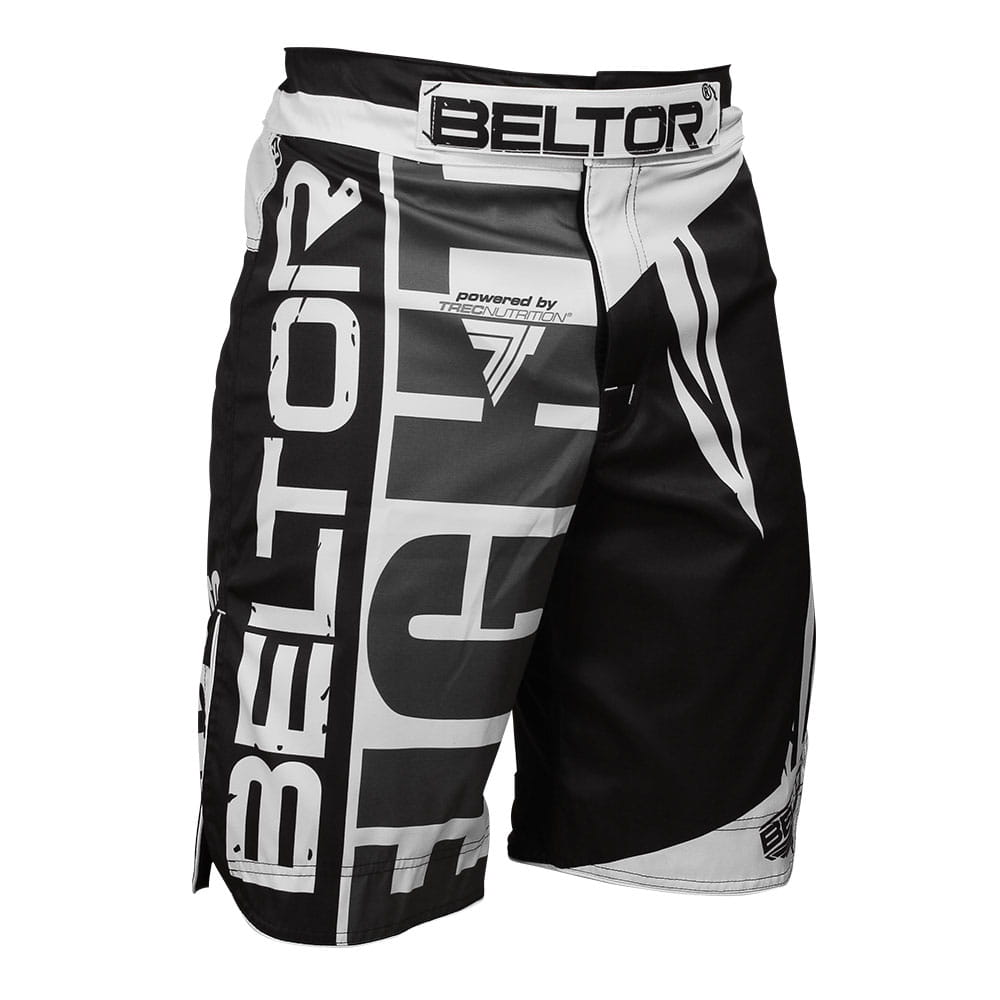 MMA Fight shorts black and white Beltor
