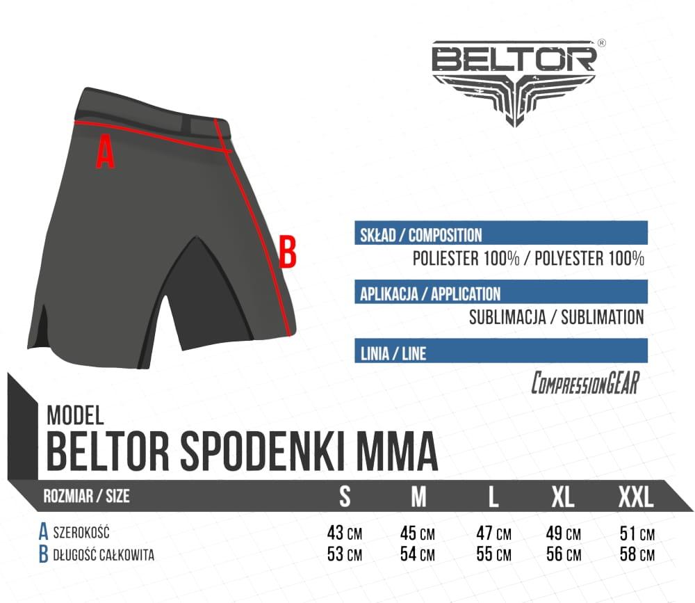 Spodenki MMA Red Punch czarno-czerwone Beltor 2